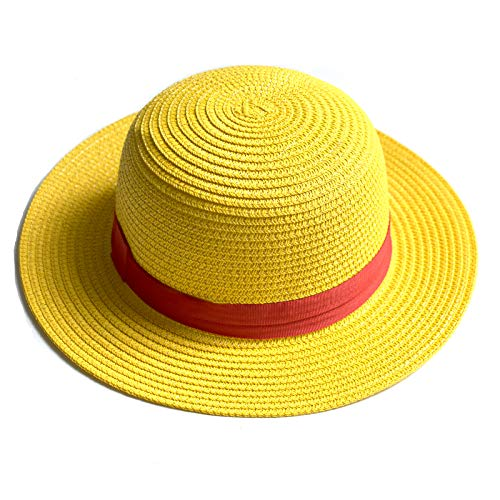Syart straw hats luffy Cosplay Party Funny Hats with Band Halloween Christmas Barn Dance Birthday Autumn Harvest Thanksgiving Accessories Party Dress Costume Prop Gift Kids hats (Yellow)