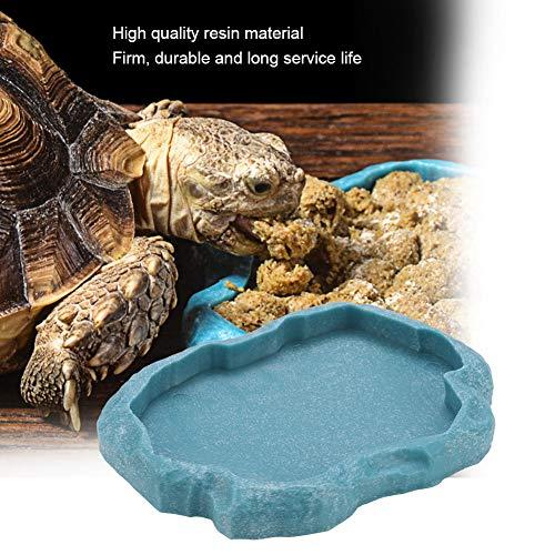 HEEPDD Tazón de Reptil, Resina de Roca Reptil Comedor y alimentador de Agua Adorno para acuarios Terrario Plato para Tortuga Lagarto Camaleón Iguana(Azul s)