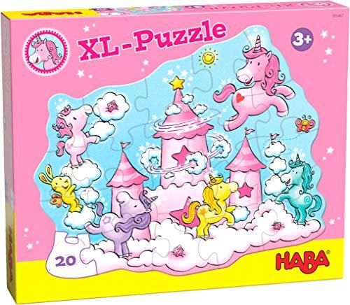 HABA 305467 - Puzzle Einhorn Glitzerglück – Wolkenpuzzelei, Puzzle ab 3 Jahren, 20 Teile mit Einhorn-Motiv und Glitzereffekt zur Übung der Feinmotorik, Farb- und Formzuordnung