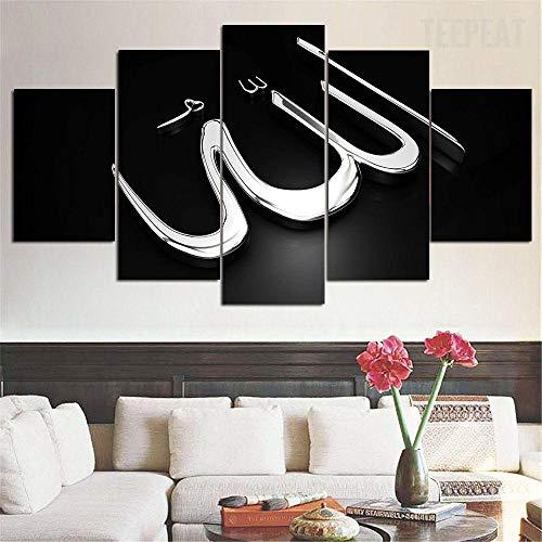 Imprimir Lienzo de PinturaIslam Alá El CoránImágenes Póster Impresión En Hd Estilo Abstracto Cuadro decoración Estilo Piasaje Regalo marco de madera 5 Piezas