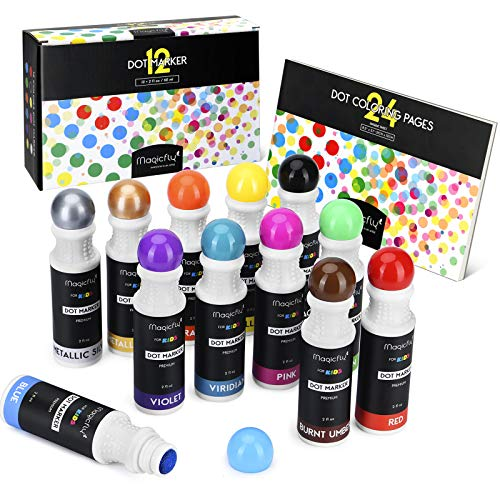 Magicfly Waschbare Marker, 12 Farbige Bingo Marker Dot Dabber Kinder Stifte mit Malbuch, Dauber Marker für die Kinder in der Vorschule, Kindergarten
