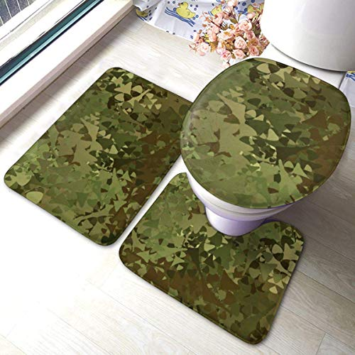 3 Pieces Bath Rug Set Toilet Seat Cover Abstract Military Camouflage Background U-shaped toilet floor mat,Pedestal Mat and Toilet Lid Cover