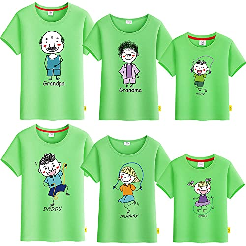 SANDA T-Shirt Familia Y Bebe,Vestido de Verano para Padres y niños, una Camiseta de Manga Corta de Cinco a Seis Abuelas Abuela, Toda la Familia bendice a la Familia-Verde_Papá 3XL