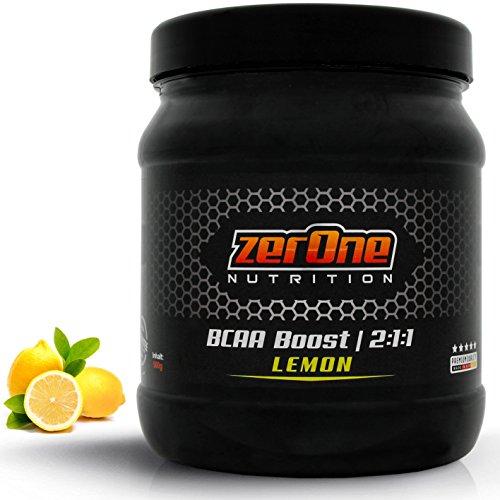 ZerOne Bcaa Boost Hochdosiertes Pulver Aminosäuren Leucin Isoleucin Valin 2:1:1 Deutsche Premium Qualität Fitness Sport 500g (Lemon)