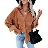 Beafeimei Womens Corduroy Shirts Casual Long Sleeve Solid Color Button Down Collared Shirt Jacket Tops Blouse with Pockets (Brown, S)