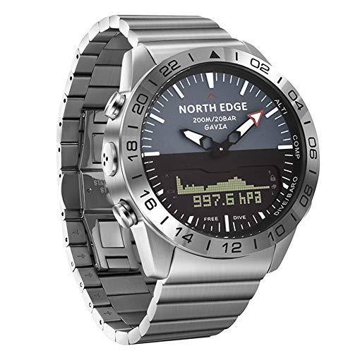 SW Watches North Edge Männer Tauchen Sport Digitaluhr Herrenuhren Militärarmee Full Steel Business Wasserdichter 100M Höhenmesser Kompass,Silver