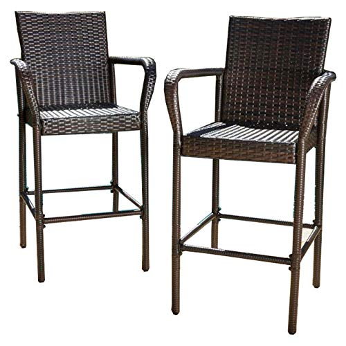 Christopher Knight Home Stewart Outdoor Bar Stool, Set of 2, Brown