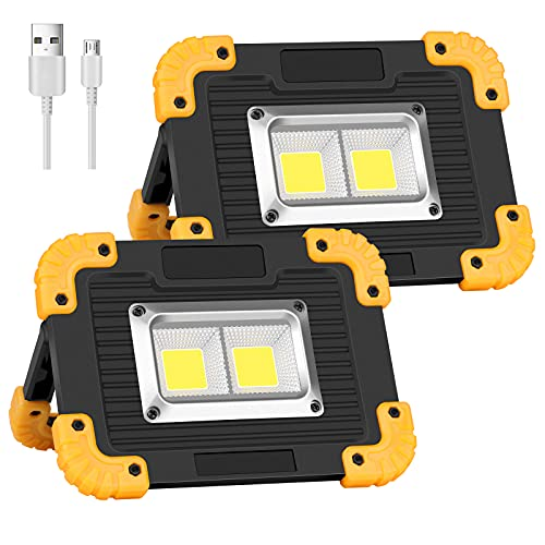 Coquimbo 2 Pack Rechargeable Work Light, Portable LED Work Light, Waterproof Outdoor Camping Lights COB Flood Lights with Stand Built in Power Bank for Hiking Fishing Car Repairing Job Site Lighting