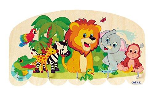 Hess Holzspielzeug 30351 - Tableau de touches en bois avec 5 crochets, série animaux de la jungle, pour enfants, fait main, pour attirer l'attention dans chaque chambre d'enfant et couloir.