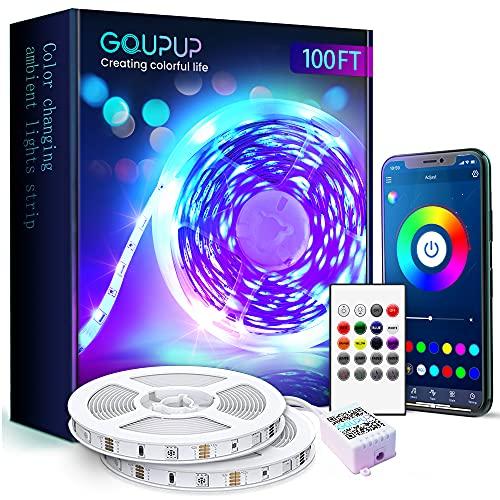 Bluetooth LED Strip Lights 100 ft with Sensitive Built-in Mic,Color Changing SMD 5050 RGB LED Lights for Bedroom,12 Volt Long Music Sync LED Light Strips for Bedroom,Home Decor(50 ftX2/APP+Remote+Mic)