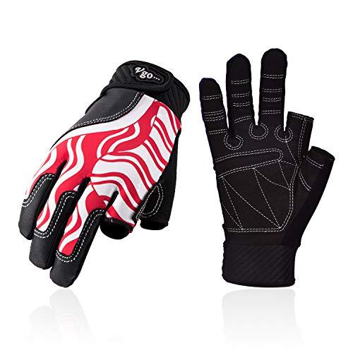 Vgo... Segelhandschuhe für Damen, Atmungsaktive Segel-, Boots-, Ruder- und Kajakhandschuhe (1 Paar, 7/S, Rot, SL0058)