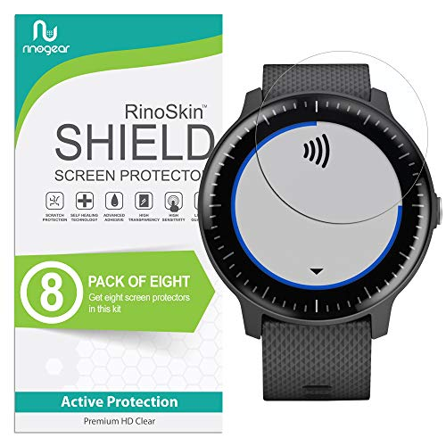 (8-Pack) RinoGear Screen Protector for Garmin Vivoactive 3 Music Case Friendly Garmin Vivoactive 3 Music Screen Protector Accessory Clear Film