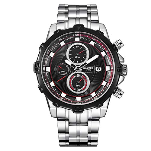 Reloj mecánico automático para Hombre, Correa de Acero Inoxidable, Luminoso, Impermeable, Reloj Deportivo de Moda,A
