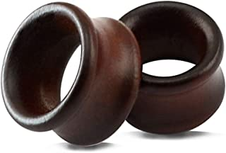 ZS Vintage Natural Brown Wood Organic Ear Tunnel Plugs Stretcher Gauges for Men and Women