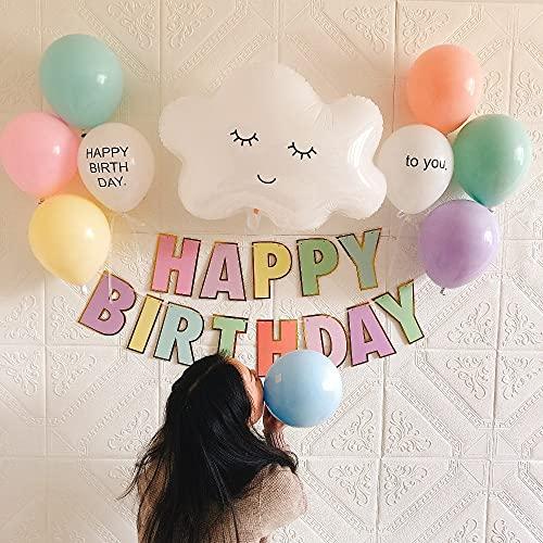Vspgyf Globo Macaron Banner de Feliz cumpleaños Lámina Grande Sonrisa Nube Blanca Látex Bolas Personalizadas DIY Helio Aire Fiesta de cumpleaños Decoración Suministros Set3