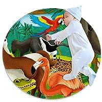 エリアラグ軽量 漫画のジャングルの動物 フロアマットソフトカーペット直径39.4インチホームリビングダイニングルームベッドルーム