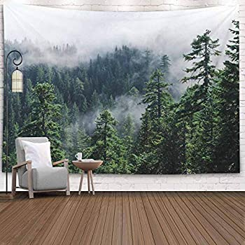 Crannel Tapestries,Fog The Mountain Forest Misty View from Larch Mount USA Pacific N Tapestry 80X60 Inches Wall Art Tapestries Hanging for Dorm Room Living Home Decorative,Turquoise Peach