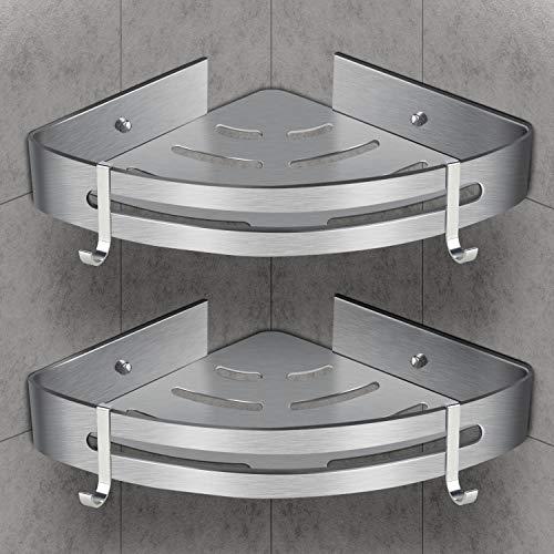 WOSTOO Duschregal Eckregal,Duschablage ohne Bohren Aluminium Duschablage mit 2 Haken Badregal Eckablage Duschkörb Korrosionsfreiem Duschkorb - 2 Stück