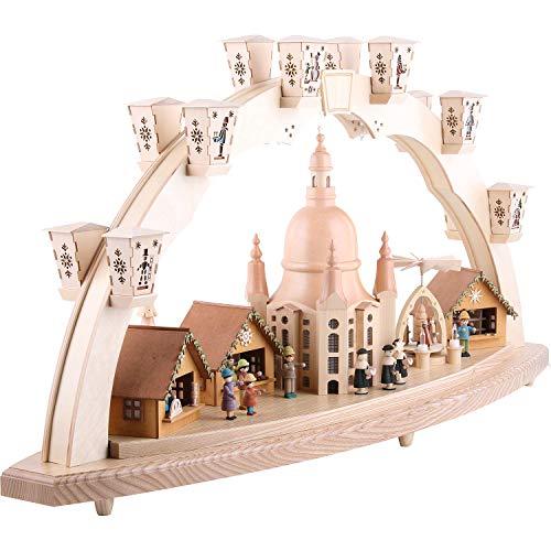 Richard Glässer Seiffen Schwibbogen Dresdner Frauenkirche mit Pyramide, Länge 80 cm, Natur, komplett elektrisch beleuchtet, original Erzgebirge