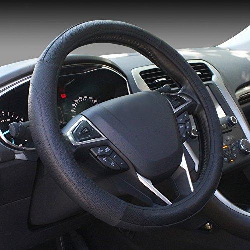 SEG Direct Black Microfiber Leather Auto Car Steering Wheel Cover Universal 15 inch
