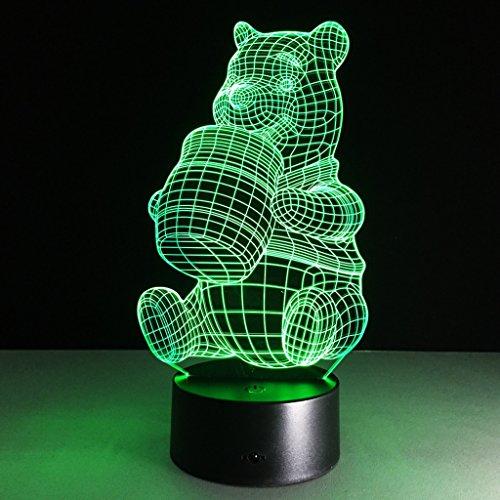GWML veilleuses Illusion 3D Veilleuses, Winnie l'Ours Moderne LED Table Lampes de Bureau 7 Couleurs Changement de Commutateur Tactile USB Charge éclairage Chambre Maison Lampe Décorative Sept couleurs