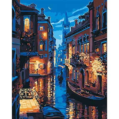 WONZOM DIY Dipinto ad Olio Dipingere con i Numeri Kit su Tela per Adulti Bambini Artigianato Artistico per la Decorazione della Parete di casa Serata a Venezia 16 * 20 Pollici Senza Cornice