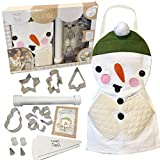 Kids Baking Set for Girls and Boys Gifts Ages 4 5 6 7 8 Year Old Make and Bake Christmas Cookies Snowman Holiday Cookie Cutters, 14 Pieces