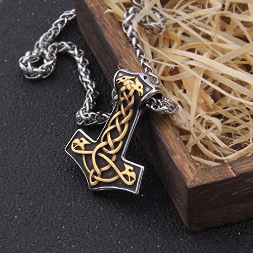 YioKpro Collar de Martillo de Thor de Oro Mixto, Collar Vikingo de Lobo escandinavo Vikingo, Regalo de Acero Inoxidable para Hombres