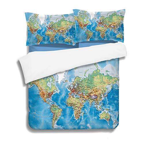 SBDLXY Bettwasche-Set 200X200M,Bettwasche-Set 200X200M,Weltkarte Bettwäsche Set 3-teilig , 1 Bettbezug mit Reißverschluss , 2 Kissenbezug , Weiche Mikrofaser ,,Blue,Blue
