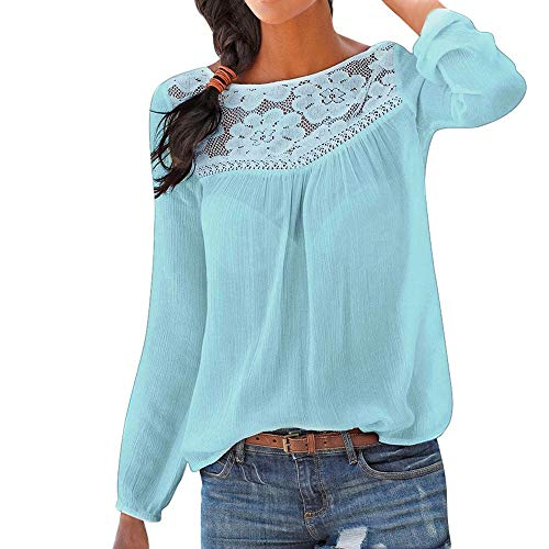 Xinantime Women Lace Neck Shirts Casual Long Sleeve O Neck Patchwork Tops Blouse(Blue,2XL)