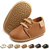 LAFEGEN Baby Boys Girls Oxford Dress Shoes Non Slip Lace Up Sneaker PU Leather Moccasins Newborn Infant Toddler Loafers First Walker Crib Shoes 3-18 Months, 001 Brown, Baby Shoes 3-6 Months Infant