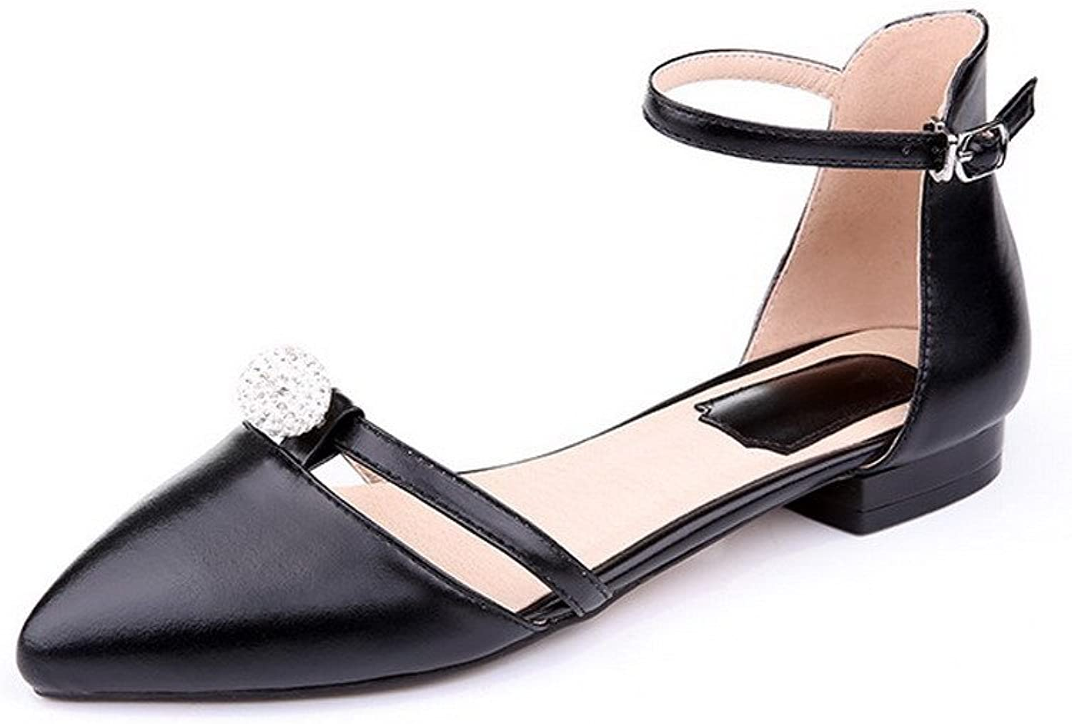AmoonyFashion Women's Buckle Closed Toe Low-Heels Cow Leather Solid Sandals