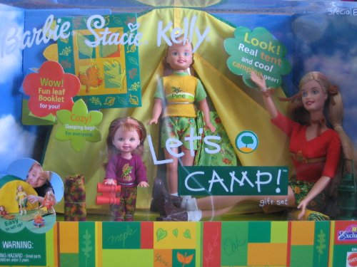 Barbie Stacie & Kelly LET'S CAMP Gift Set - 'R'U Exclusive Special Edition w 3 Dolls, Tent, Camping Gear & More (2001) by Barbie