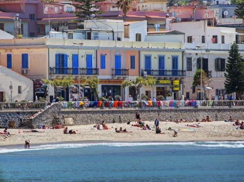 Posterazzi PDDEU16TEG1550LARGE Italy, Sicily. Beach at Cefalu Photo Print, 24 x 36, Multi