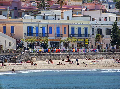 Posterazzi PDDEU16TEG1550LARGE Italy, Sicily. Beach at Cefalu Photo Print, 24 x 36, Multi