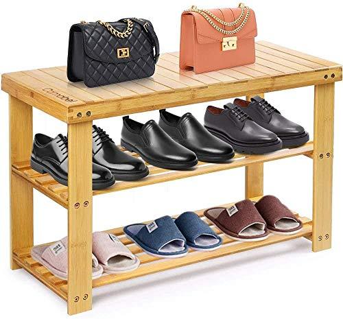 Pasadora de zapatos con banco Bambú Banco de zapatos Zapato de almacenamiento Frigorífico Almacenamiento Organizador Capacidad de carga de hasta 126 kg para pasillo baño sala de estar sala de estar