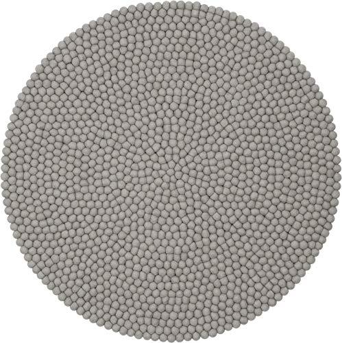 myfelt Luis Filzkugelteppich — 50cm, rund — Grau