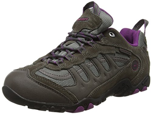 Hi-Tec Penrith Low Waterproof, Zapatillas de Senderismo Mujer, Gris (Charcoal/purple), 40 EU (7 UK)