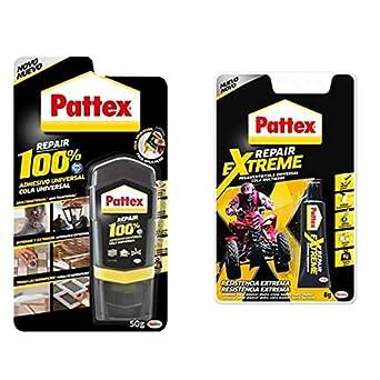 Pattex 100%, Pegamento Multimaterial Transparente, Botella 50Gr + Repair Extreme - Pegamento (8 Gr) Blanco