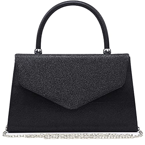 Dasein Women's Evening Bags Formal Party Clutches Wedding Purses Cocktail Prom Handbags with Frosted Glittering (Black)