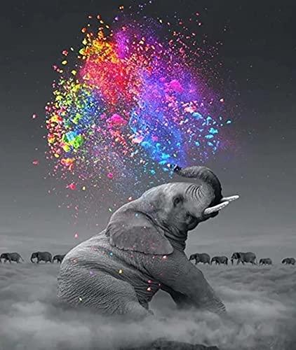 Kit de pintura de diamantes 5D en marco, pintura completa para adultos y niños, 30 x 40 cm, diseño de mosaico de gatos, pintura por números, rompecabezas, pintura de animales (elefante)