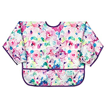 Bumkins Sleeved Bib Baby Bib Toddler Bib Smock Waterproof Fabric Fits Ages 6-24 Months – Watercolor