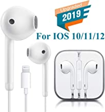 Lighting Earbuds Headphone Wired Earphones Headset with Microphone and Volume Control, Compatible with iPhone Xs Max/XR/X/7/8 Plus Plug and Play Filter Cases (White)
