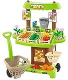 Jouets Ecoiffier – 1741 - Stand du maraîcher pour enfants + accessoires 100 % Chef – 35 pièces – Dès 18 mois – Fabriqué en France