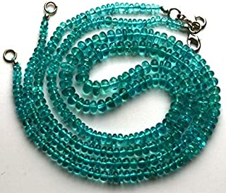 Jewel Beads Natural Beautiful jewellery 1 Strand Natural 18 Inches Super Finest Quality -AAA-Green Emerald Color Smooth Apatite Rondell Beads Necklace 3.5 TO 7 MMCode:- JBB-3886