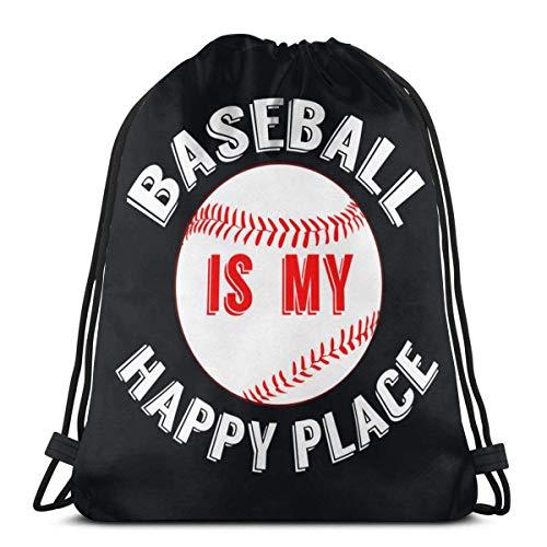 Shui Baseball ist mein glücklicher Ort Drawstring Rucksack Rucksack Umhängetaschen Sporttasche