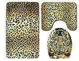 JgZATOA Tappetino da Bagno Tappeto da Toeletta con Motivo Leopardo Animale Set da 3 Pezzi Tappetino da Bagno Tappetino da Bagno Tappetino Coprivaso