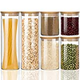 Wennyn Glass Jars for Food Storage, Airtight Glass Food Canisters for Home and Kitchen, BPA Free Containers with Bamboo Lids for Candy, Rice, Coffee, Tea, Cookie, Sugar, Flour, Pasta, Nuts, 6 Pack