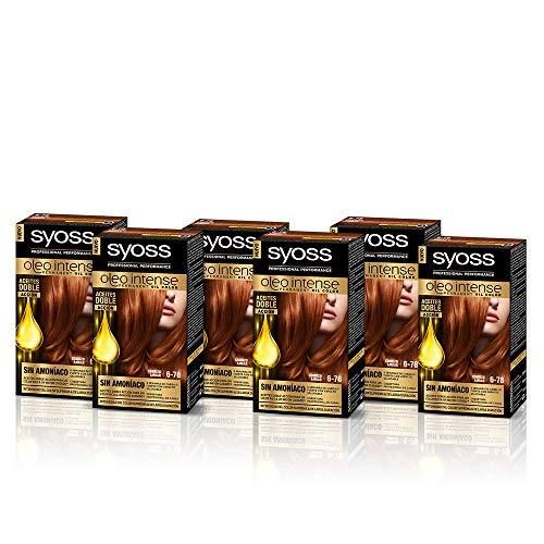 SYOSS, Coloración permanente - 6 unidades - Sin Amoníaco Tono 6.76 Cobrizo Ámbar