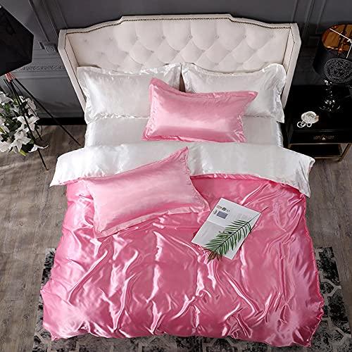 juego de ropa de cama 135x190,Lavar la seda de hielo es una hoja de manga cuatro conjuntos de regalos de suministros de cama de color sólido-Esconder_1,8 m de cama (4 piezas) (20 series de 200 * 230)